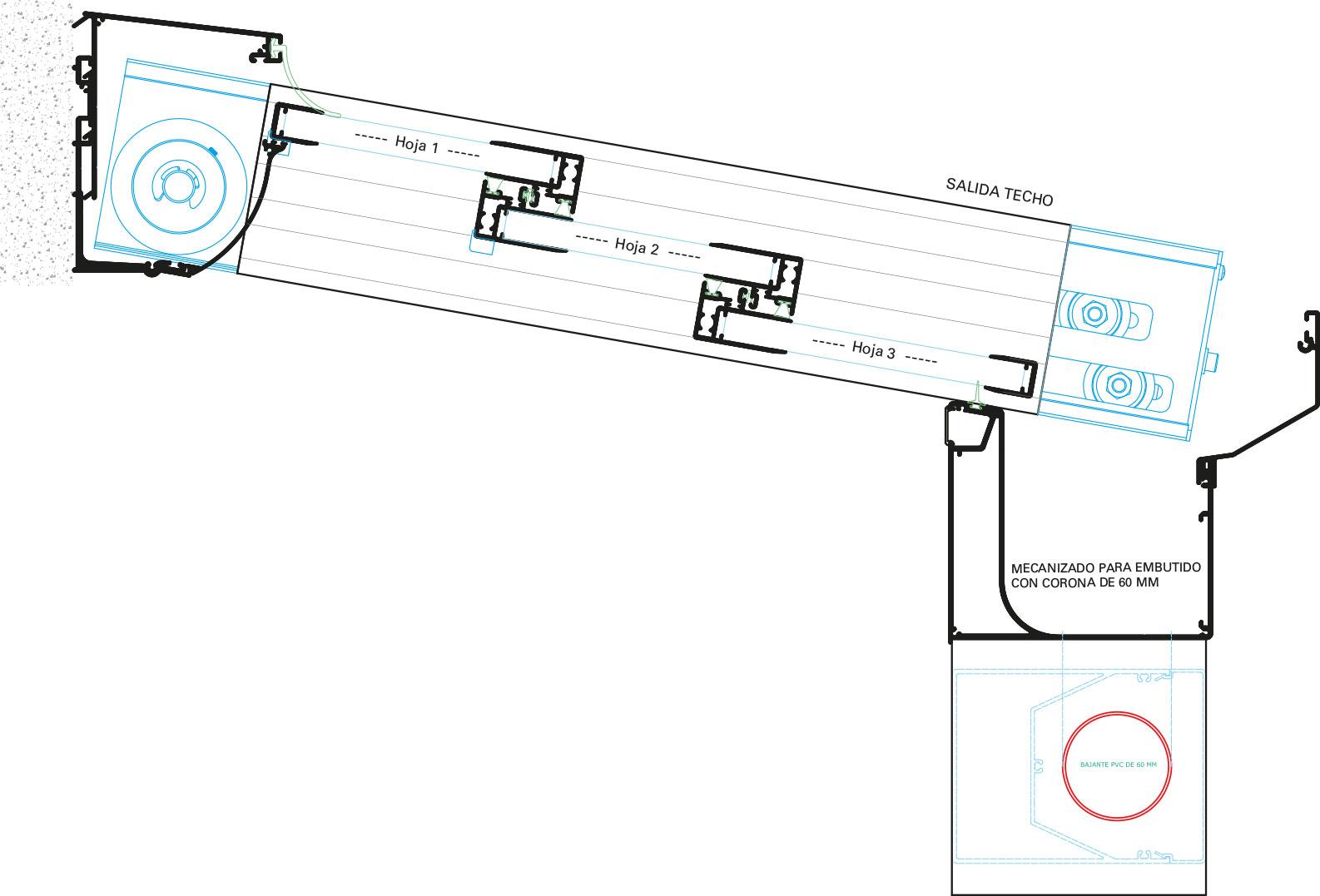 Detalle sección techo de aluminio
